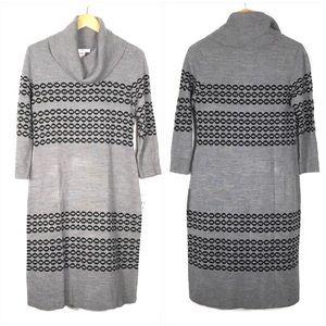 Studio One Gray Cowl Neck Sweater Dress Size Small
